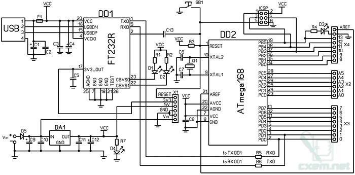 Схема Arduino с USB