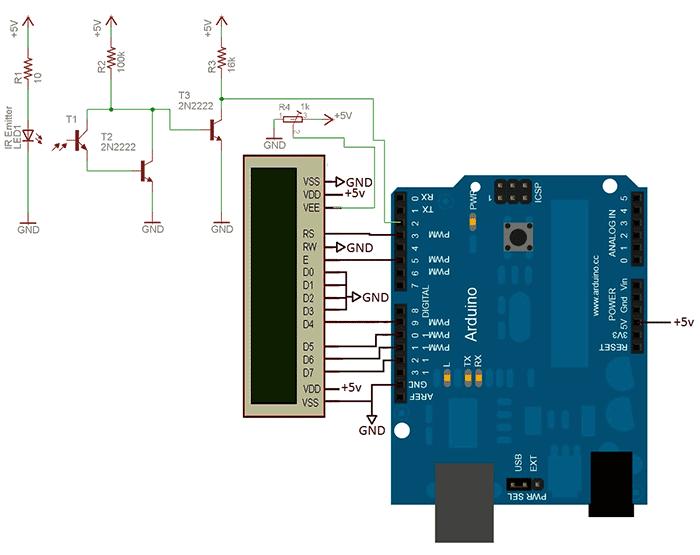 Схема тахометра на Arduino