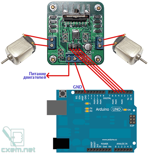 Схема подключения модуля L298N