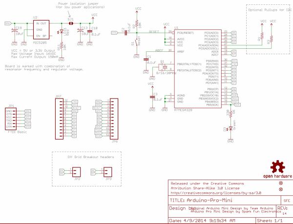 Схема Arduino Pro Mini