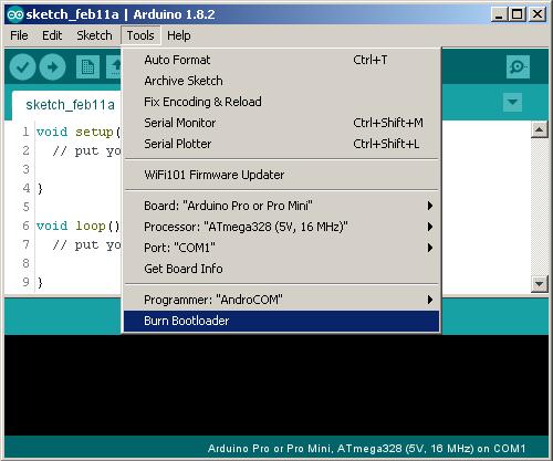 Записывание загрузчика в память микроконтроллера