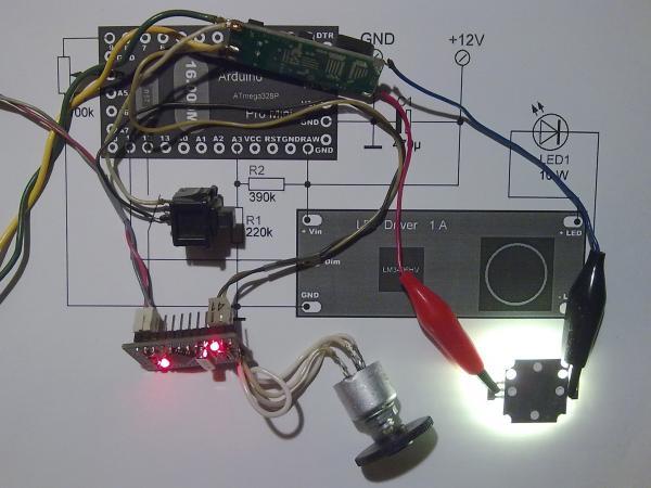 Активация устройства и зажигание силового светодиода