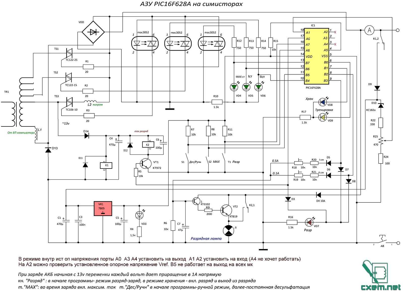 Максимальный ток заряда определяется мощностью трансформатора и собственно тиристорами + диодный мост.