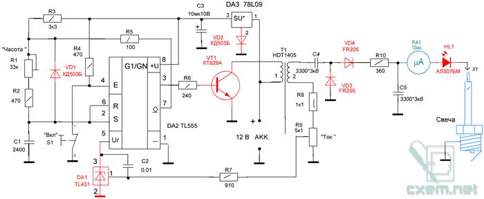 Схема прибора состоит из генератора импульсов на аналоговом таймере DA2 с внешними RC цепями R1R2R3R5C1...