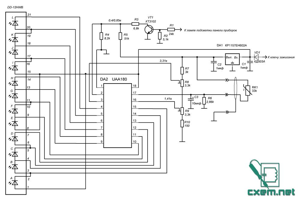 В схеме использован термистор