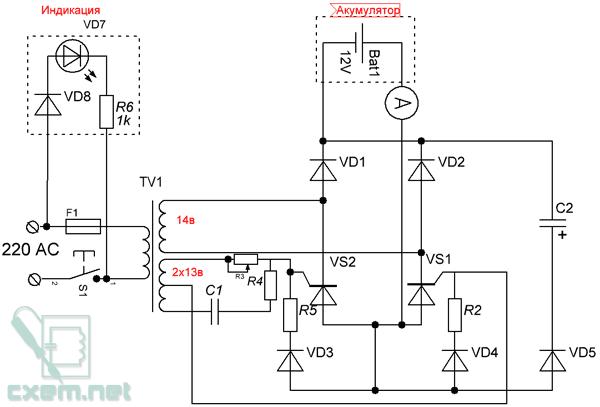 Схема автомобильного зарядного