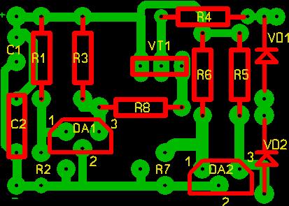 Схема смонтирована на печатной