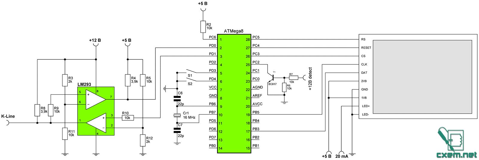 Схема бортового компьютера для ВАЗ.  Нажмите для увеличения.