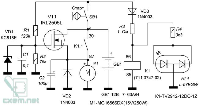 Схема мягкого пуска стартерного электродвигателя постоянного тока