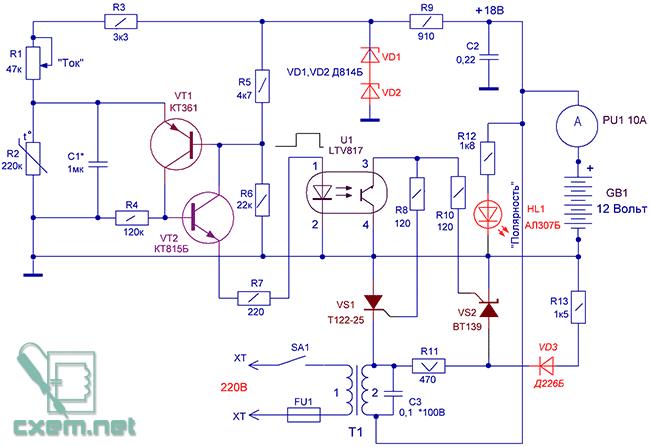 Схема зарядно-восстановительного устройства свинцовых аккумуляторов