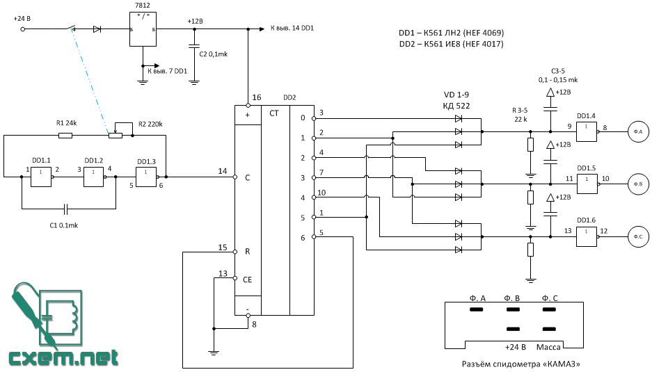 Схема намотки показаний