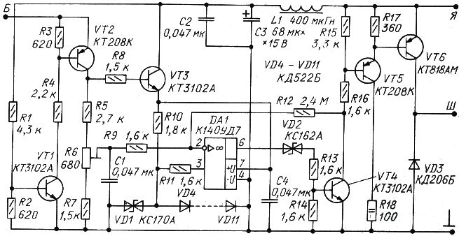 Схема допускает некоторый разряд аккумуляторной батареи малыми токами по...