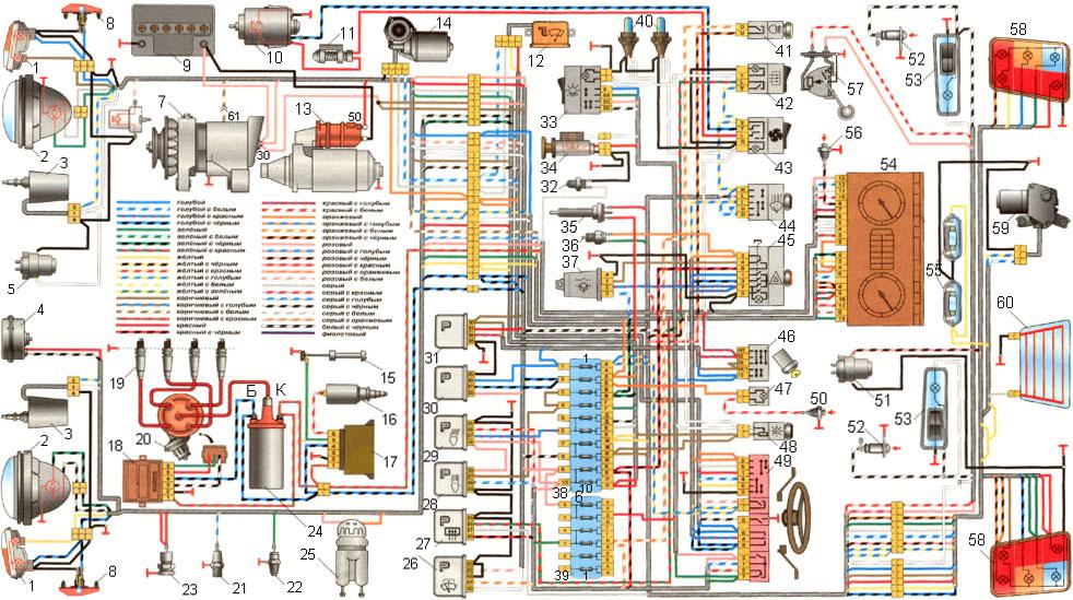 Электросхема ВАЗ-2110, цветная .  - авто электро схемы.