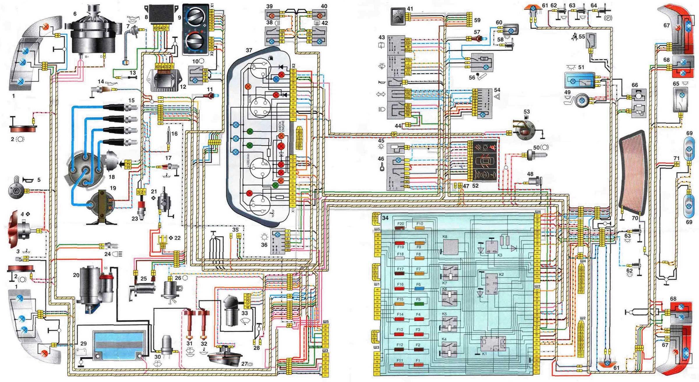 Схема электрическая ВАЗ - 2110,схема.