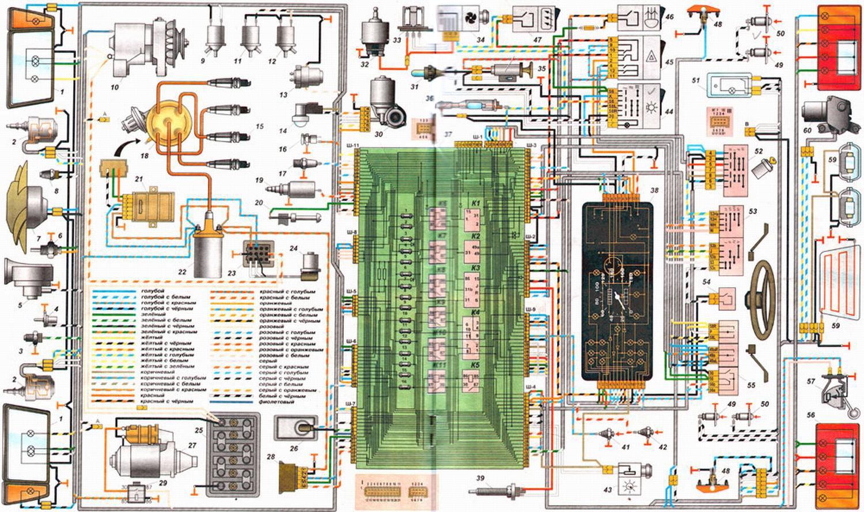 Схема электрооборудования автомобиля ВАЗ-2108, ВАЗ-2109.