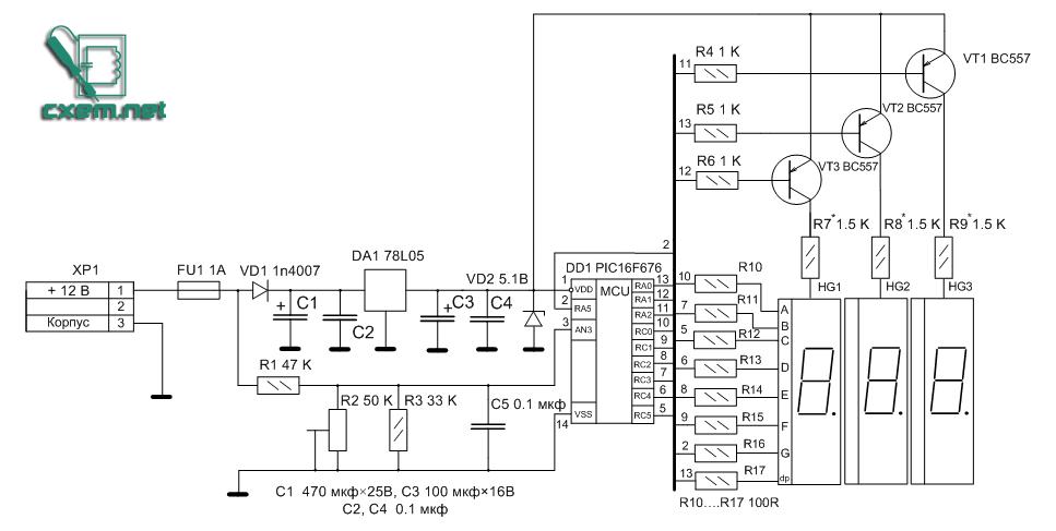 Схема цыфрового вольтметра для авто.