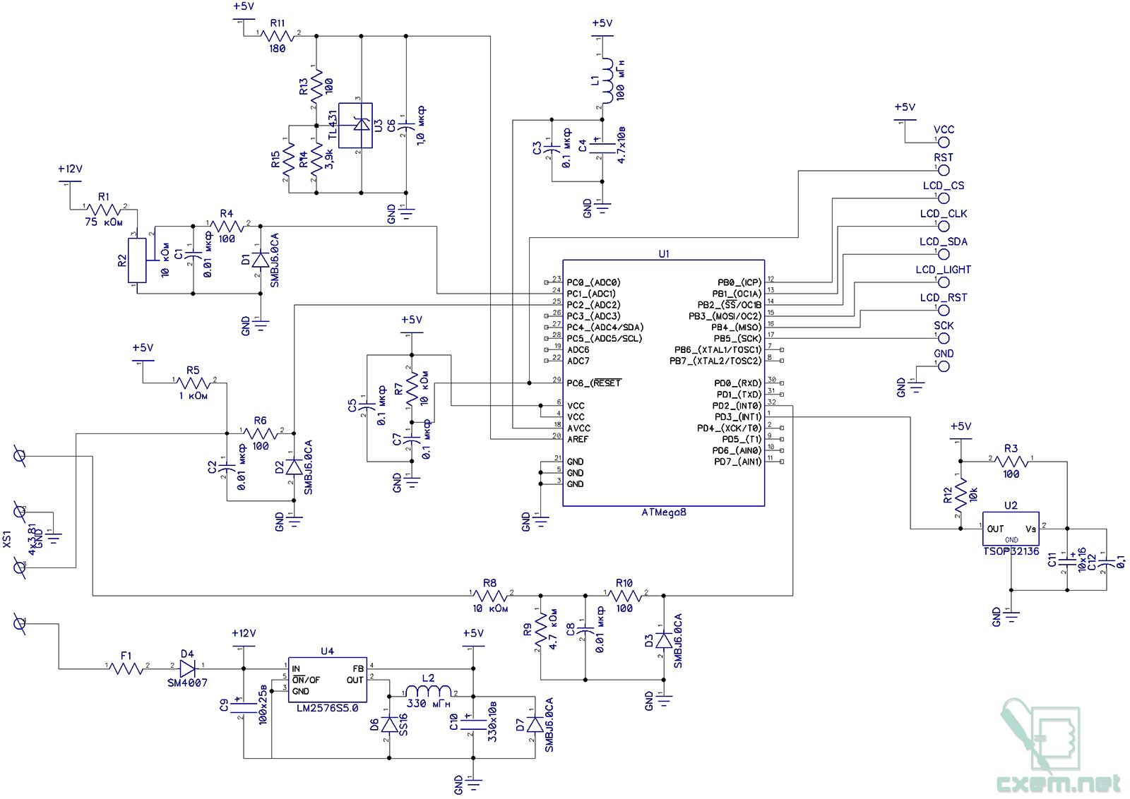 схема цифрового указателя топлива