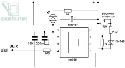 Схема подмотчика спидометра на NE555