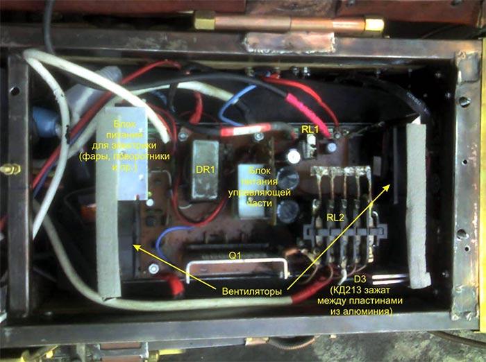 Блок, установленный в электромобиль