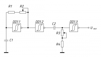 Релаксационный генератор на триггерах Шмитта