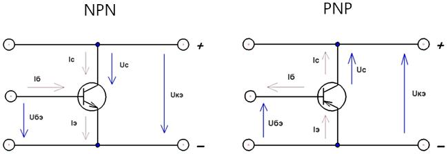 Включение NPN и PNP транзисторов