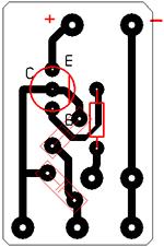 Печатная плата генератора звуков на одном транзисторе.