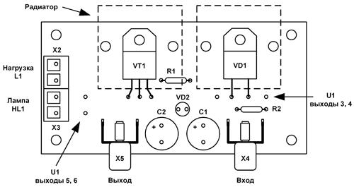 Расположение элементов модуля