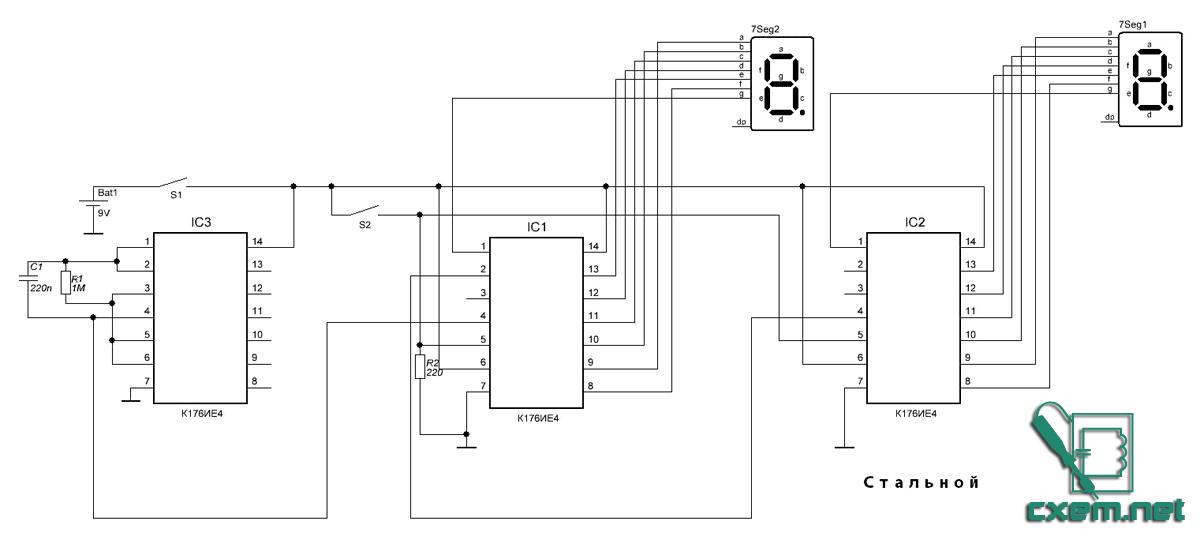 Схема на К176ИЕ4