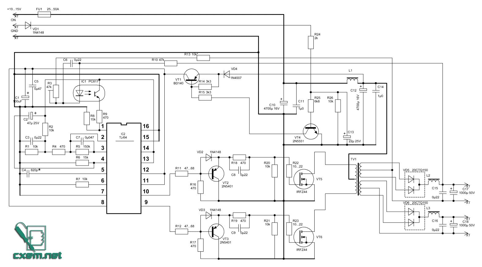 tl494l схема включения