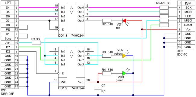 Схема программатора STK200