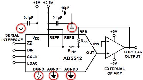 Пример раздельного общего провода для цифры и аналога