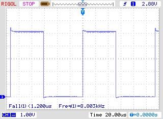 Осциллограмма выходного сигнала (суммарное сопротивление 1000 Ом)