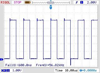 Осциллограмма выходного сигнала (суммарное сопротивление 250 Ом)