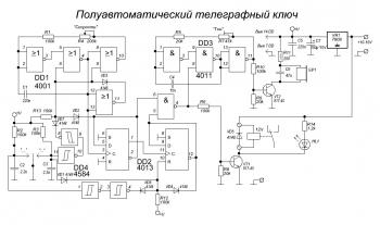 Схема полуавтоматического телеграфного ключа