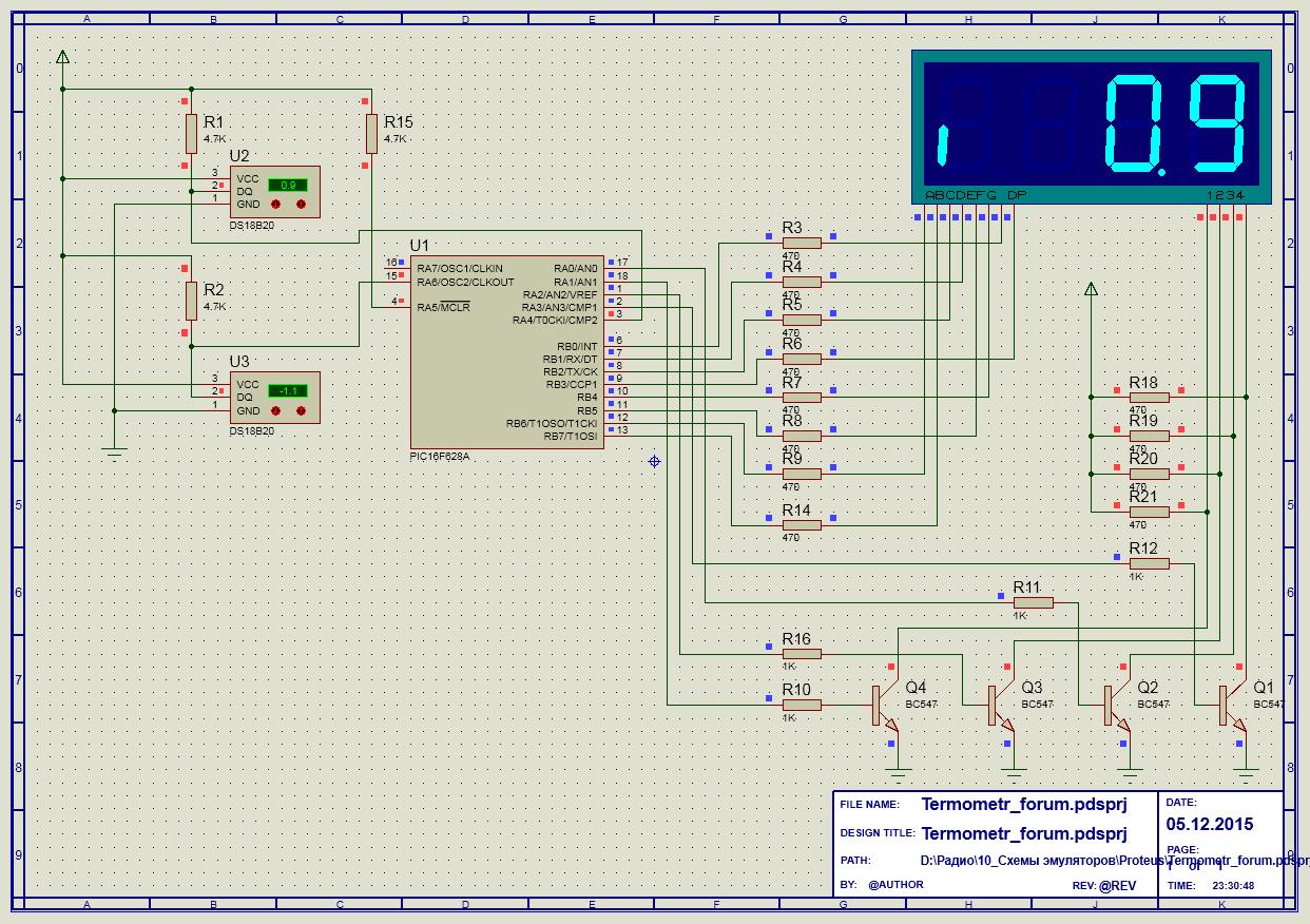 Ds18b20 термометр pic схема