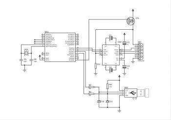 <Схема переходника, стандартный v-usb   UART<->RS232 на max232   подача питания на 1-й вывод и, через канал max232 - на 8-й