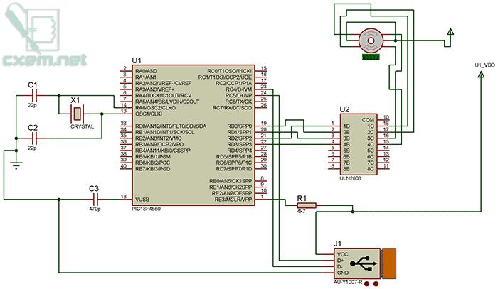 Проект USB драйвера в Proteus