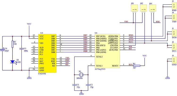 Схема 1-wire сниффера