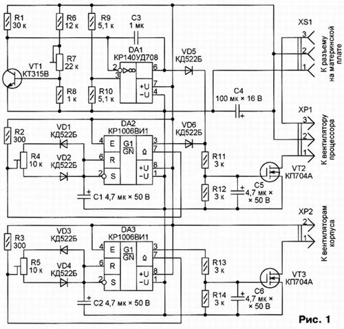 Схема блока управления вентилятором volkswagen.