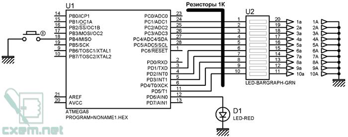 Atmega8 схема тестера