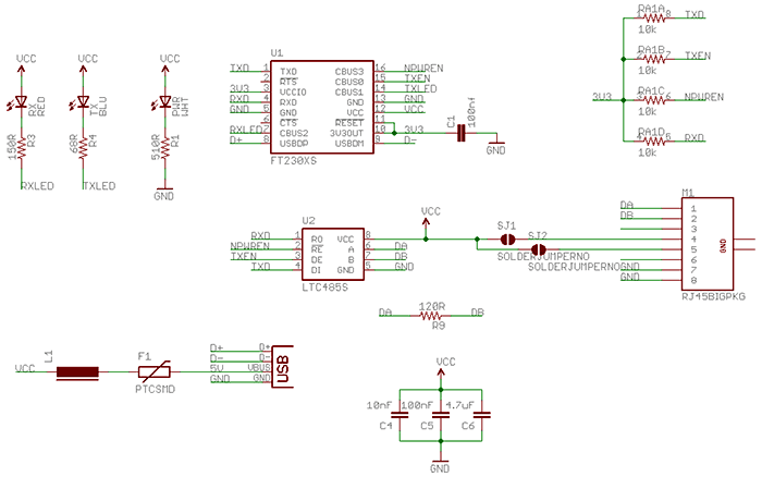 Схема конвертера USB-RS485
