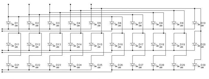 Рис.2 (схема включения светодиодов).