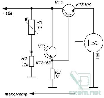Схема простого регулятора скорости вращения вентилятора