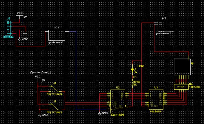 Основная схема проекта до и после замещения групп компонентов на схеме подсхемами.