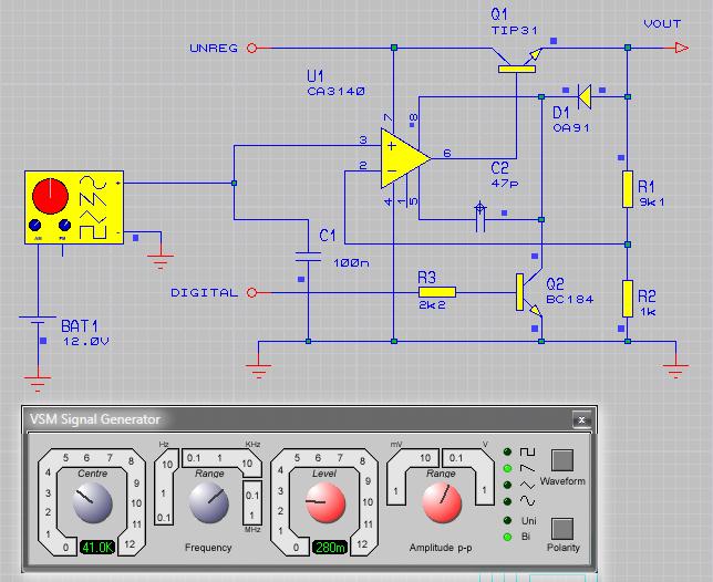 Лицевая панель сигнал генератора, его пиктограмма и пример подключения к схеме