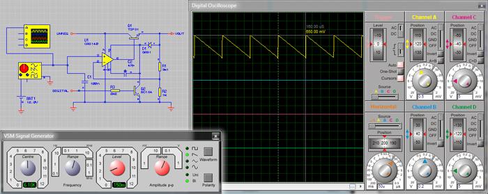 Генерация сигналов пилообразной формы при помощи сигнал генератора и их отображение на дисплее осциллографа