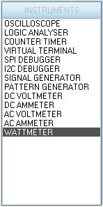 Выбор ваттметра на панели INSTRUMENTS