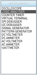 Выбор логического анализатора на панели INSTRUMENTS