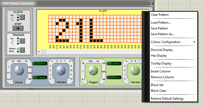 Создание надписи в области дисплея лицевой панели и обзор команд контекстного меню цифрового генератора шаблона