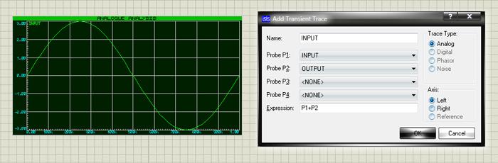 Диалоговое окно Add Transient Trace и новая кривая в окне графика ANALOGUE, отображающая данные, ассоциированные с добавленным генератором